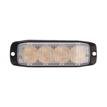 LED Blixtljus Supervision 4LED Slim, Kraftfullt gult sken