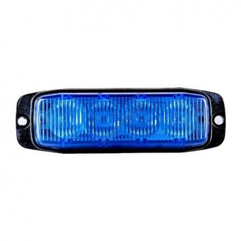 LED Blixtljus Supervision 4LED Blå, Tunt slimmat Varningsljus, ECE-R65 Godkänd