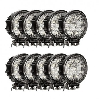 LED arbetsbelysning 10-PACK Svealux Classic Rund 27W